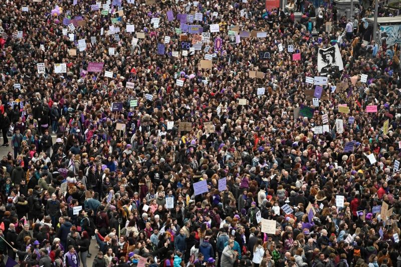 Even as the virus was spreading, the government allowed some 120,000 people to gather in Madrid to celebrate International Women's Day last month.Credit Pierre-Philippe Marcou/Agence France-Presse — Getty Images