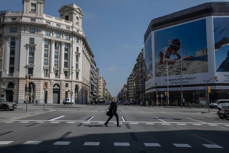 Passeig de Gracia, one of the most famous touristic sights of Barcelona, was nearly empty on March 14 after the government declared a nationwide lockdown.Credit Maria Contreras Coll for The New York Times