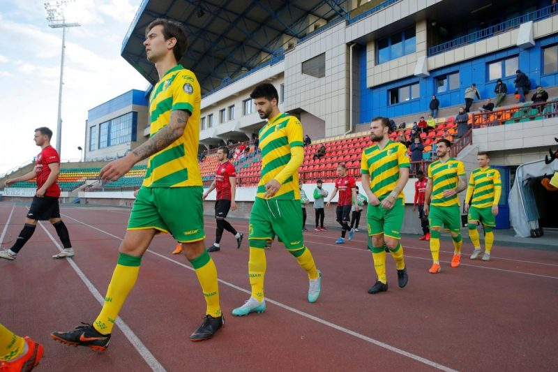 FC Neman players come out before playing a soccer match in Neman Stadium, in Grodno, Belarus, on April 10. (Vasily Fedosenko/Reuters)