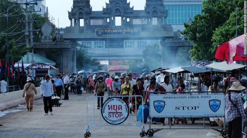 A checkpoint is seen at Thailand's border with Poi Pet, Cambodia.