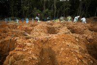 Enterradores con equipo protector le dan sepultura a un paciente que falleció por la COVID-19 en Brasil. Credit Bruno Kelly/Reuters