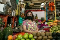 Carina González has worked in Mercado la Dalia in Mexico City for 25 years. Stalls such as hers are part of Mexico's informal economy, which accounts for 30 percent of the country's gross domestic product. (Meghan Dhaliwal for The Washington Post)