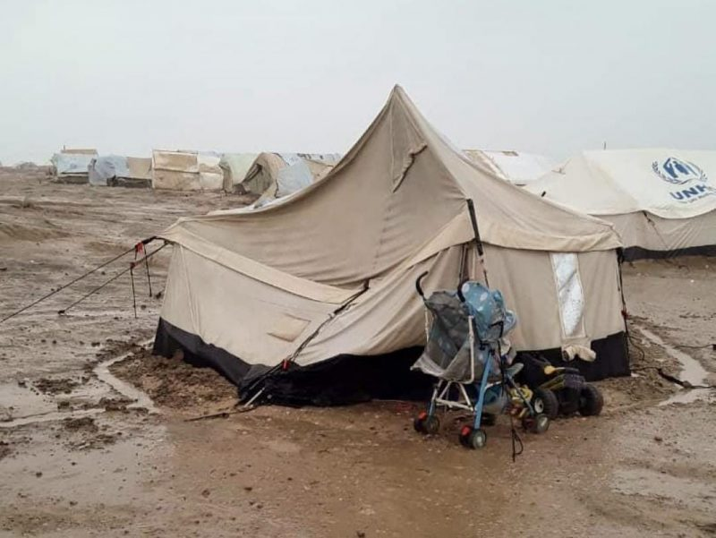 Winter scene from al-Hol camp in north-eastern Syria in March 2020. This photograph was shared with support group members by a camp resident who wished to remain anonymous.