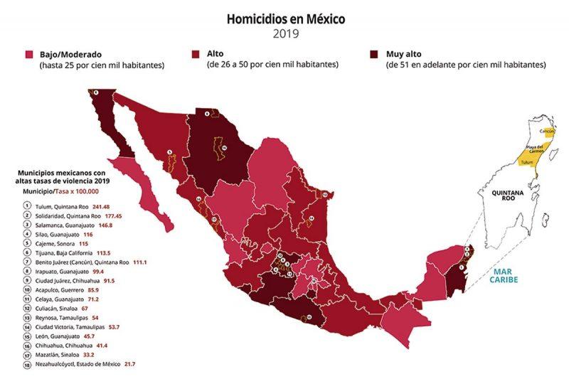 Figura 1. Homicidios en entidades federativas y municipios con altas tasas por 100.000 habitantes, 2019