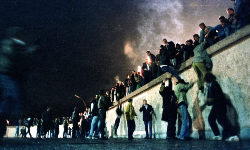 'Europe today needs a second peaceful revolution after the one of 1989.' The Berlin Wall comes down. Photograph: Herbert Knosowski/Reuters