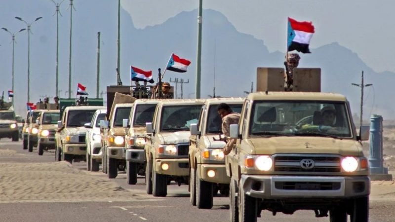 A reinforcement convoy of Yemen's Security Belt Force dominated by members of the the Southern Transitional Council (STC) heading to Abyan province, Yemen. AFP/Saleh Al-OBEIDI