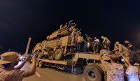 Forces loyal to Libya's U.N.-recognized Government of National Accord parade a Pantsir air defense system truck in Tripoli on Wednesday after capturing it at from forces loyal to Libya's eastern-based strongman Khalifa Hifter. (Mahmud Turkia/AFP/Getty Images)