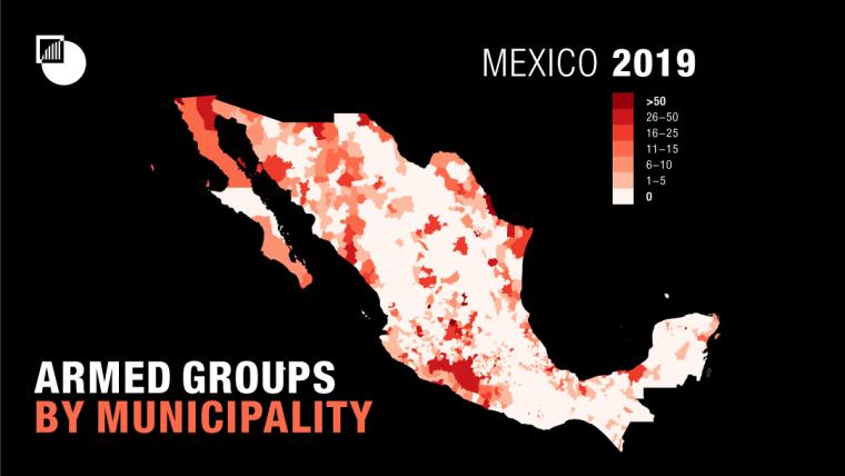 Grupos armados por municipio 2019. CRISISGROUP