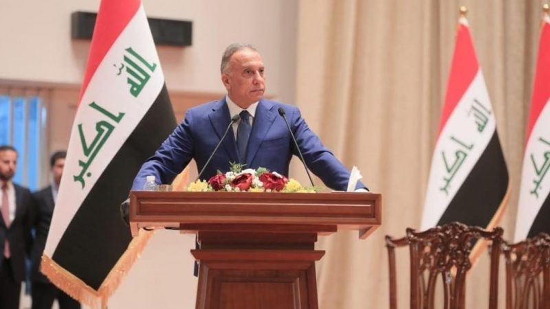 Iraqi PM-designate Mustafa al-Kadhimi who is at the parliament for vote of confidence in Baghdad, Iraq makes a speech on May 06, 2020. Anadolu Agency via AFP