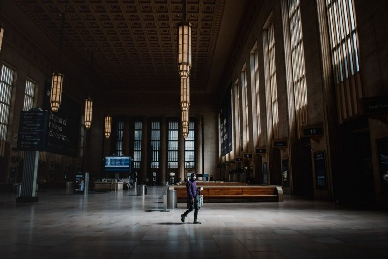 Hannah Yoon/Bloomberg via Getty Images An almost empty 30th Street Station, Philadelphia, Pennsylvania, April 15, 2020