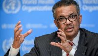 WHO director-general Dr Tedros Adhanom Ghebreyesus at the COVID-19 press briefing on March 11, 2020, the day the coronavirus outbreak was classed as a pandemic. Photo by FABRICE COFFRINI/AFP via Getty Images.