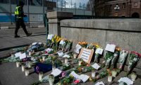 A makeshift memorial in Stockholm's Mynttorget square remembers loved ones lost to coronavirus. Photograph: Jonathan Nackstrand/AFP via Getty Images