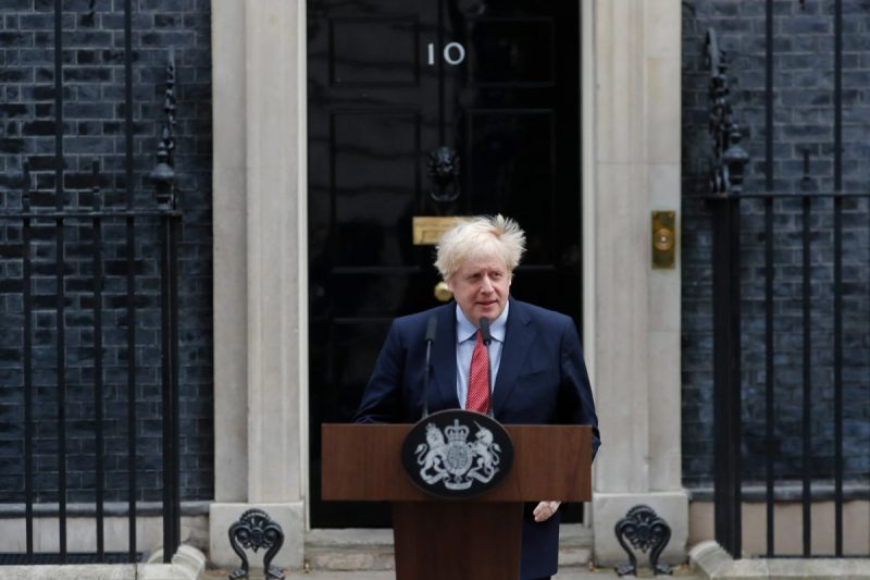Prime Minister Boris Johnson of Britain on his first day back at work in London last month after contracting the coronavirus. Credit Frank Augstein/Associated Press