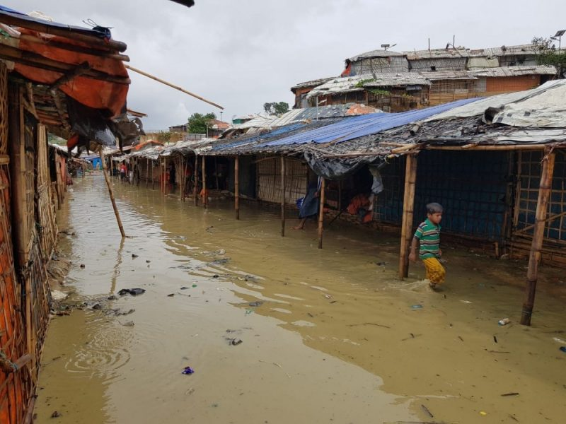 Flooding in a Rohingya refugee camp in Cox's Bazar on Thursday as a result of Cyclone Amphan. (Mayyu Ali)