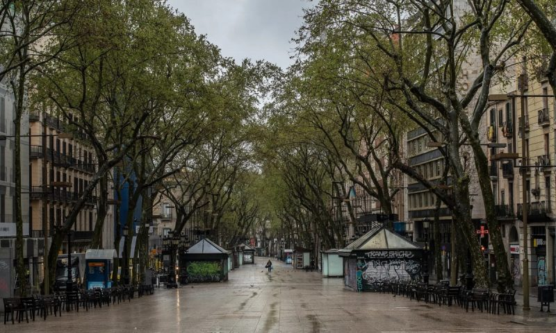 'This necessary lockdown has brought, in Spain and in every country that has been forced to adopt this kind of measure, an intense economic and social crisis.' An empty Las Ramblas, Barcelona. Photograph: David Ramos/Getty Images
