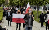 Demonstrators protest Poland's upcoming presidential election in Wroclaw on Thursday. (Bartek Sadowski/Bloomberg News)