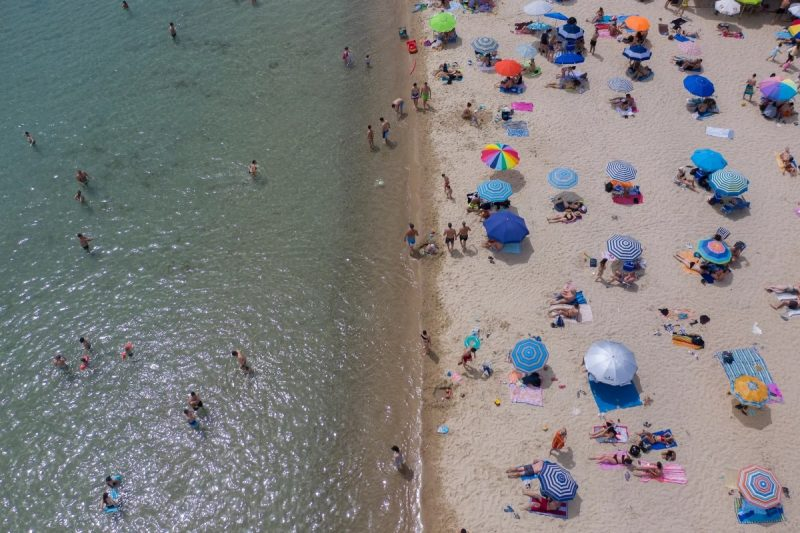 'A border-free Europe is not the prerogative of tourists and Interrail travellers.' A reopened beach near Thessaloniki, Greece, 16 May 2020. Photograph: Dimitris Tosidis/EPA