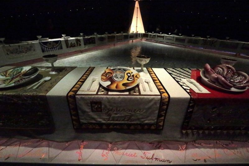 """A detail from Judy Chicago's """"The Dinner Party"""" at the Brooklyn Museum. The installation is a symbolic history of women in Western civilization. Credit Suzanne DeChillo/The New York Times"""