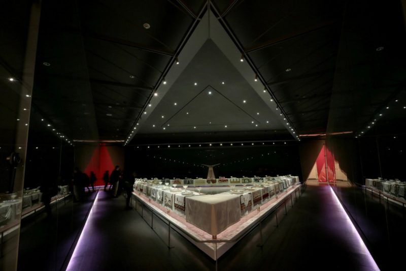 """A view of Judy Chicago's """"The Dinner Party,"""" an installation devoted to important women in history, on display at the Brooklyn Museum. Credit Suzanne DeChillo/The New York Times"""