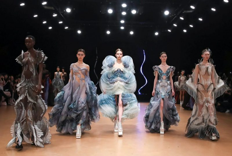 """Models at Iris van Herpen's Haute Couture collection in Paris earlier this year. """"A lot of the three-dimensional patterns I create echo the rhythms of life,"""" says the fashion designer. Credit Valerio Mezzanotti for The New York Times"""