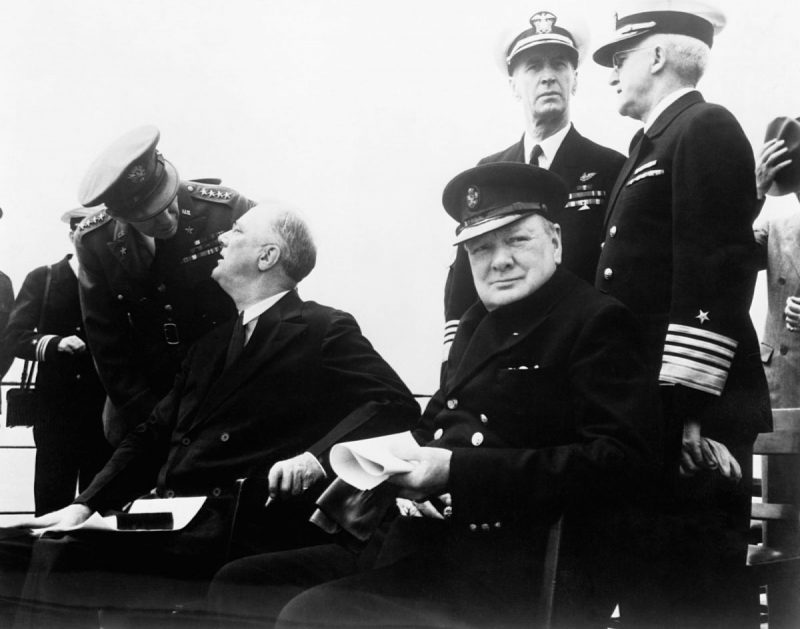 Corbis via Getty Images Prime Minister Winston Churchill and President Franklin D. Roosevelt, with his son James, meeting to draw up the Atlantic Charter, August 1941