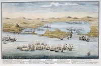 Vista de Cartagena de Indias con las diversas disposiciones de la flota británica bajo el mando del almirante Vernon (Isaac Basire, Londres 1741). Wikimedia Commons / Biblioteca Nacional de Colombia