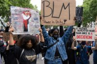 A Black Lives Matter demonstration in Cologne, Germany, on Sunday. Photograph: Action Press/Rex/Shutterstock