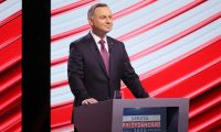 Andrzej Duda during a debate on Polish state television, TVP, 17 June 2020: 'Polish state television makes Fox News look like the Canadian Broadcasting Corporation.' Photograph: Paweł Supernak/EPA