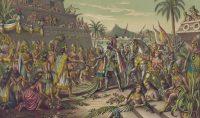 Encuentro de Hernán Cortés y Moctezuma