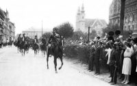 Underwood Archives/Getty Images Mounted gendarmes moving through the city of Sopron in support of West Hungarians protesting the Trianon Treaty that would turn over territory to Austria, Hungary, 1921