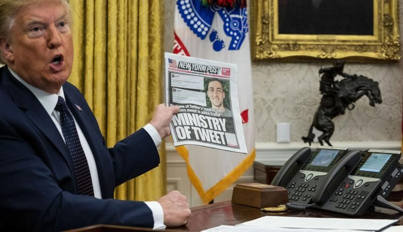 US President Donald Trump speaks in the Oval Office before signing an executive order related to regulating social media on 28 May 2020 in Washington, DC. Photo by Doug Mills-Pool/Getty Images.