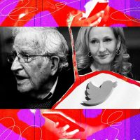 Noam Chomsky, left, and J.K. Rowling. Credit Illustration by The New York Times; Photographs by Jim Wilson/The New York Times, Lefteris Pitarakis/Associated Press, Heuler Andrey/Agence France-Presse—Getty Images and Getty Images