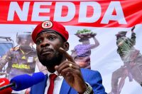Musician-turned-politician Robert Kyagulanyi, also known as Bobi Wine, at a news conference in Kampala, Uganda, on June 15, about the government handling of the coronavirus pandemic. (Abubaker Lubowa/Reuters)