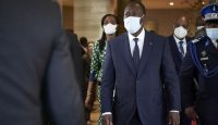 President of Ivory Coast Alassane Ouattara arrives in Bamako on 23 July 2020, where West African leaders gathered in a push to end an escalating political crisis in Mali. Photo: Getty Images.