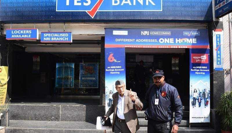 Yes Bank branch of Malcha Marg, in New Delhi, India. Photo by Vipin Kumar/Hindustan Times via Getty Images.