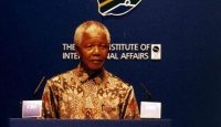 President Nelson Mandela of South Africa addresses an audience at an event co-hosted by Chatham House, the CBI and COSAT on July 10, 1996.