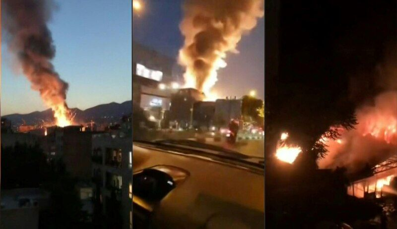 These images obtained from the state-run Iran Press news agency on June 30 shows footage of a powerful explosion at a clinic in northern Tehran. (Roy Issa/AFP/Getty Images)
