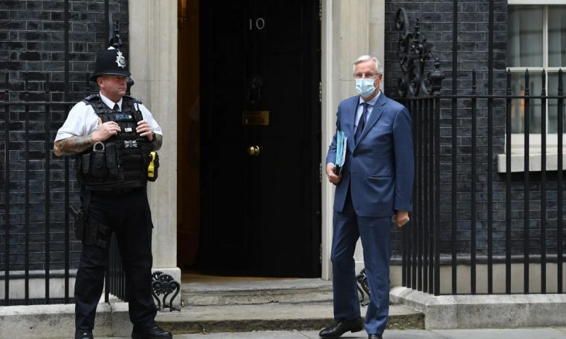 'If David Frost and Michel Barnier can strike a bargain, it will lead to a much harder and more disruptive Brexit than most Britons imagine.' Barnier arrives at No 10. Photograph: Leon Neal/Getty Images