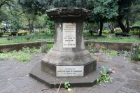 The pedestal for a statue of Queen Victoria that was knocked down in 2015 in Nairobi on June 10. (Khalil Senosi/AP)