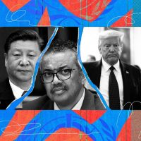Xi Jinping, left; Tedros Adhanom Ghebreyesus, the director general of the World Health Organization; and Donald Trump.Credit...Illustration by The New York Times; photographs by Doug Mills/The New York Times, Mark Schiefelbein/Associated Press, Pool photo by Fabrice Coffrini
