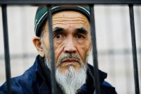 The human rights activist Azimjon Askarov during a courtroom hearing in Bishkek, Kyrgyzstan, in 2016. (Vladimir Voronin/AP file)
