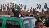Lazarus Chakwera, leader of the Malawi Congress Party (MCP) arriving at the Mtandire suburb of the capital Lilongwe for an election rally. Photo by AMOS GUMULIRA/AFP via Getty Images.