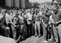 Anti-integration protesters at the University of Mississippi awaiting the arrival of the first African-American student, James Meredith. Getty Images