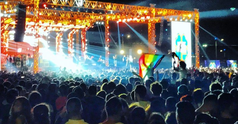 The L.G.B.T.Q. rights activist Sarah Hegazi was one of the people who raised the rainbow flag at this Mashrou' Leila concert in Cairo in 2017. Credit Benno Schwinghammer/Picture Alliance, via Getty Images
