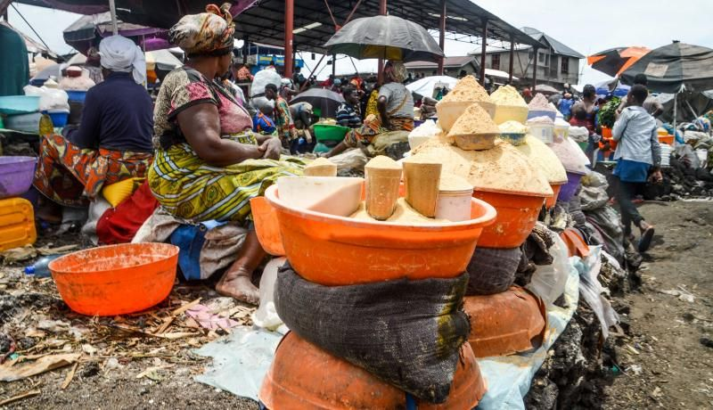 A view of a market area in Goma, Democratic Republic of Congo on 10 October 2019. Congo is among the countries with the highest number of acutely malnourished people on a global level. Photo by JC Wenga/Anadolu Agency via Getty Images.