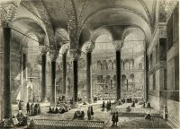 A 19th-century illustration of the interior of the Hagia Sophia, before it became a museum in 1935. Credit Mansell/The LIFE Picture Collection, via Getty Images