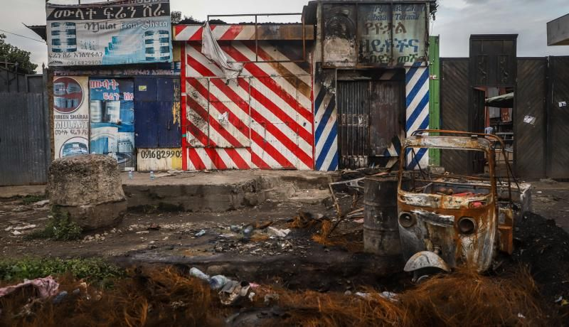 Burned buildings which were set on fire during the violence after the assassination of Oromo's pop singer Hachalu Hundessa are seen in Shashamene, Ethiopia on 12 July 2020. Photo: Getty Images.