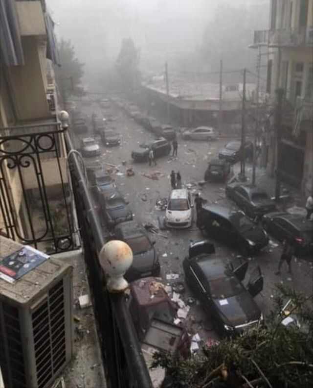 The view from the author's apartment balcony shortly after the explosion, Beirut, August 4, 2020. Seema Jilani/Dion Nissenbaum