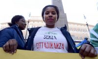 A protest in Rome demanding the approval of a law that would give citizenship rights to migrants born or raised in Italy, November 2017. Photograph: Simona Granati - Corbis/Corbis/Getty Images