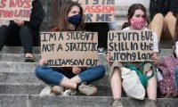 A-level students protest in Leeds. Photograph: Adam Vaughan/Rex/Shutterstock